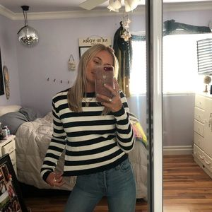 Brandy Melville Navy & White Striped Sweater